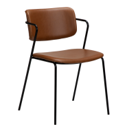 Restaurant and Café chair in Light Brown PU leather for seat and Back. Steel Frame in BLack.
