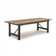 A foldable pine wood table for restaurants, cafes and events