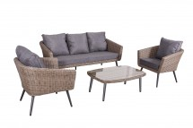 Lounge Set with sofa, two chairs and one coffeetable. With cushions. Round Brown Wicker