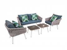 Grey Lounge Set with sofa, two chairs and two small coffeetables. With cushions
