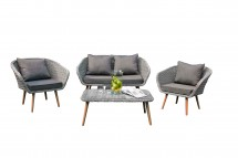 Lounge Set with sofa, two chairs and one coffeetable. With cushions. Grey wicker