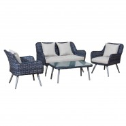 Lounge Set with sofa, two chairs and one coffeetable. With cushions. Grey wicker.