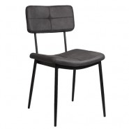 Chair for café or restaurant, in black metal frame and dark grey artificial leather