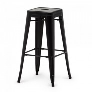 A black steel barstool  in retro look for your café or bar